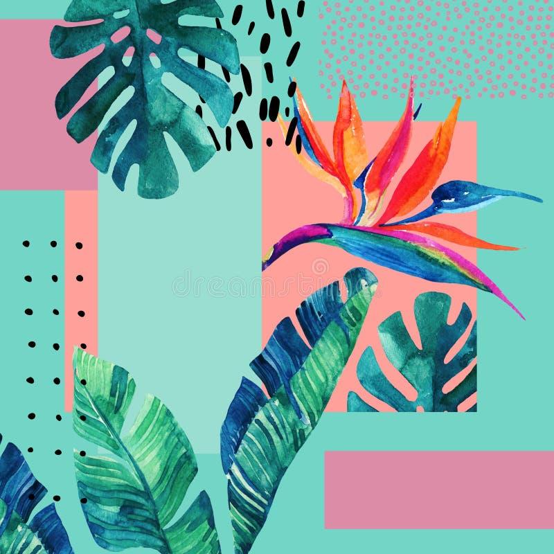 在最小的样式的抽象热带夏天设计 皇族释放例证