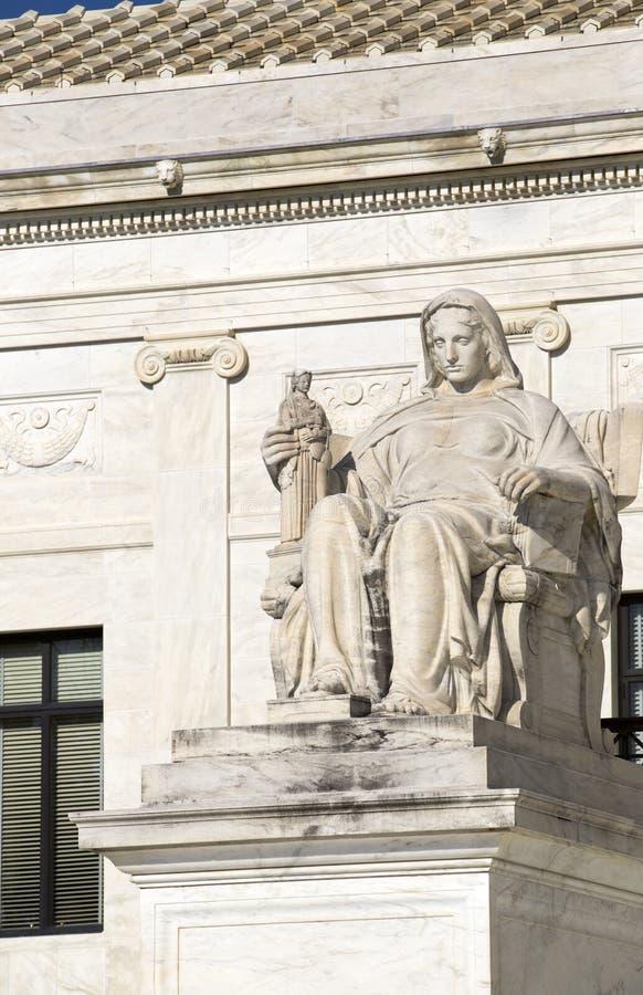 在最高法院的雕象 库存图片