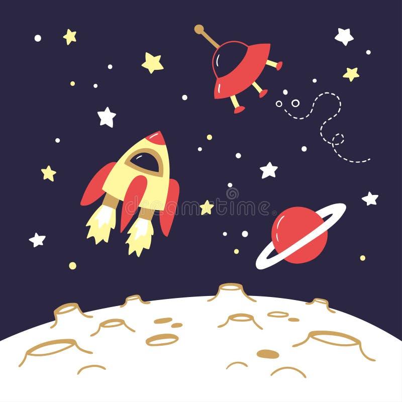 在月亮上的空间对象 飞行太空飞船、土星和飞碟在月亮的火山口上 库存例证