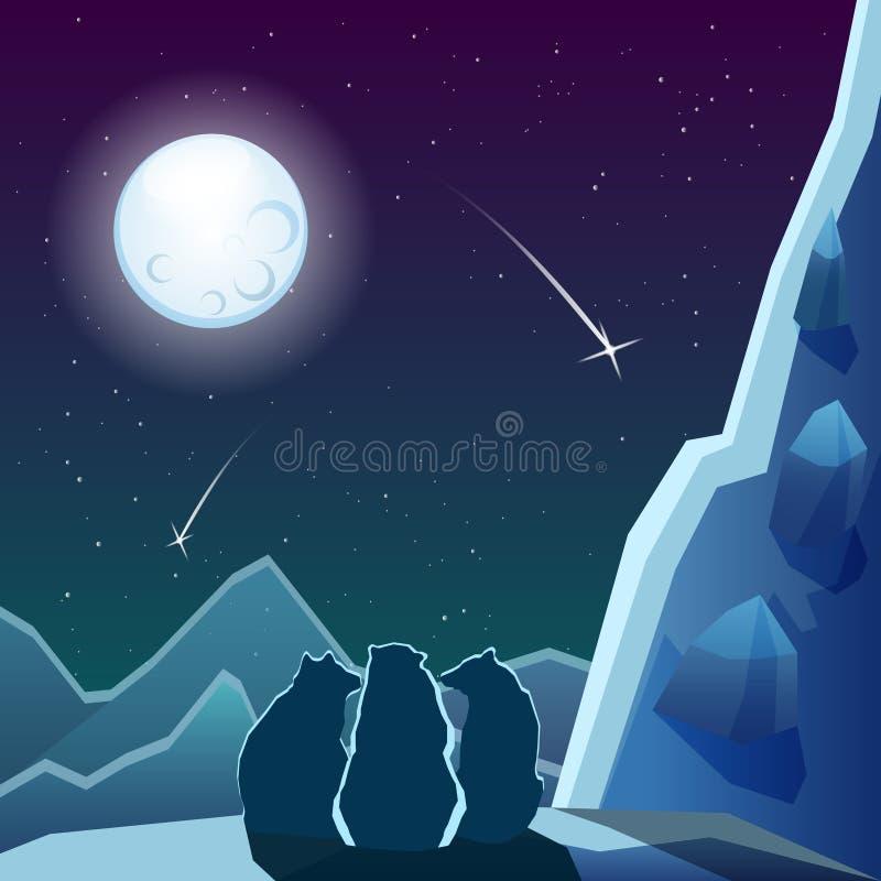 在月亮下的三头熊 向量例证