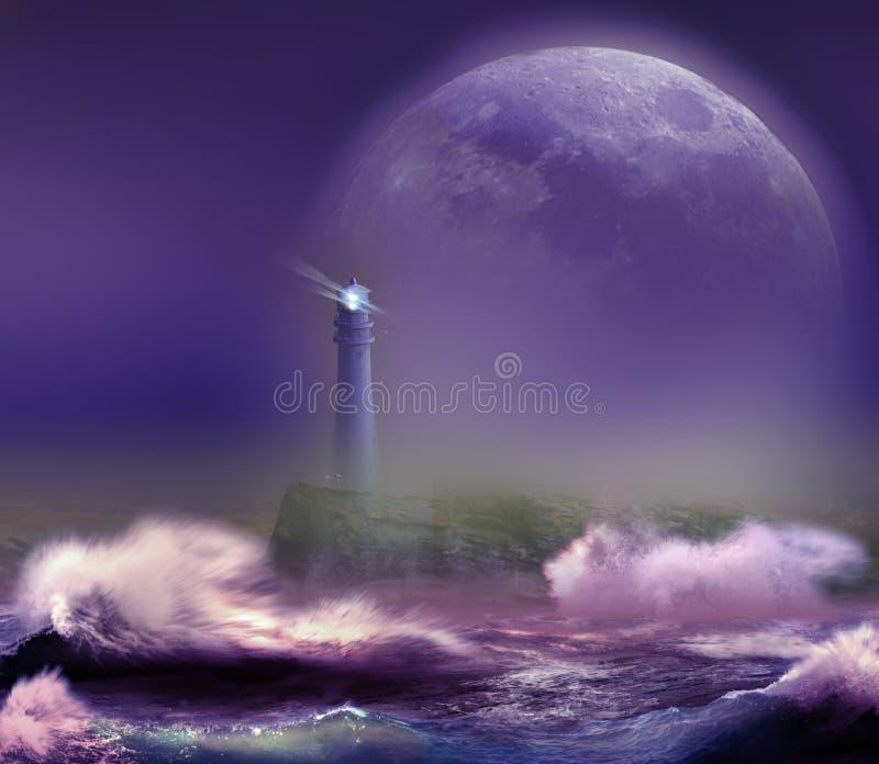 在月亮下的灯塔 皇族释放例证