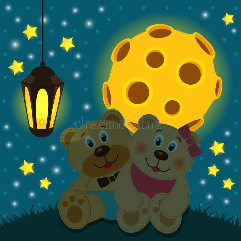 在月亮下的熊 库存例证