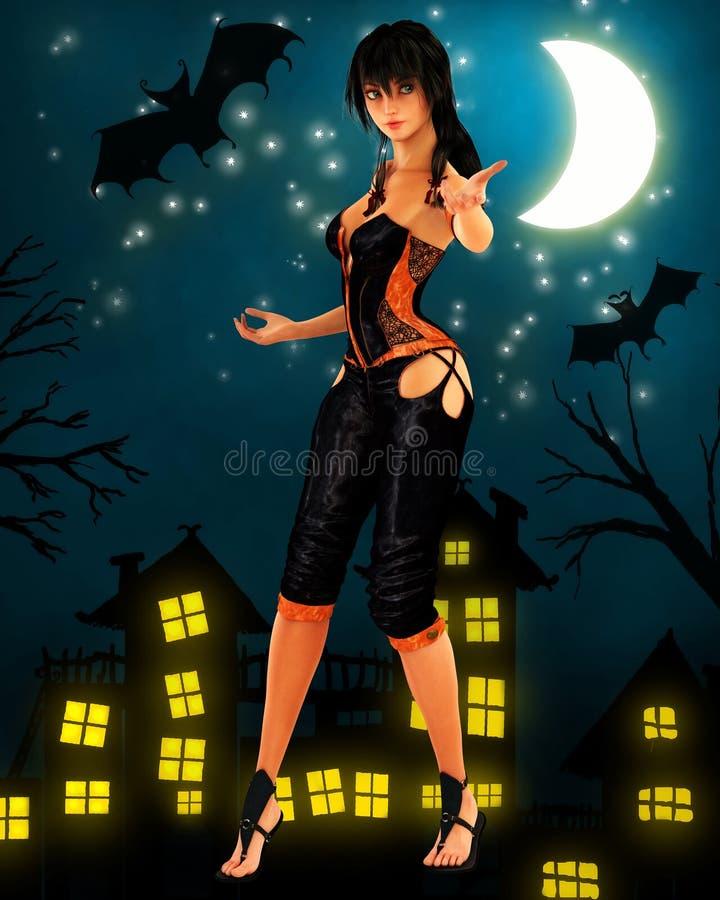 在月亮下的黑发巫婆跳舞 向量例证