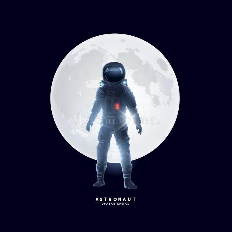 在月亮前面的宇航员太空人 向量例证