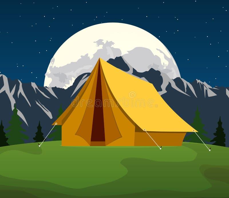 在月亮和星下的旅游帐篷 皇族释放例证