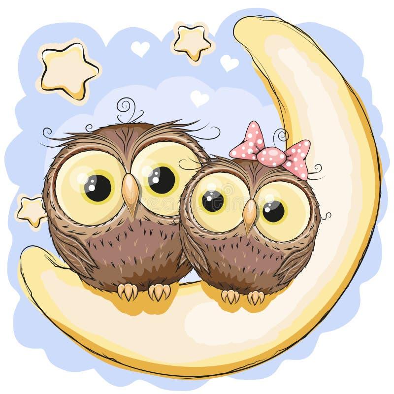 在月亮的两头猫头鹰 皇族释放例证