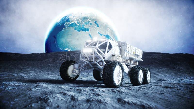 在月亮的月亮流浪者 空间远征 地球背景 3d翻译 库存例证