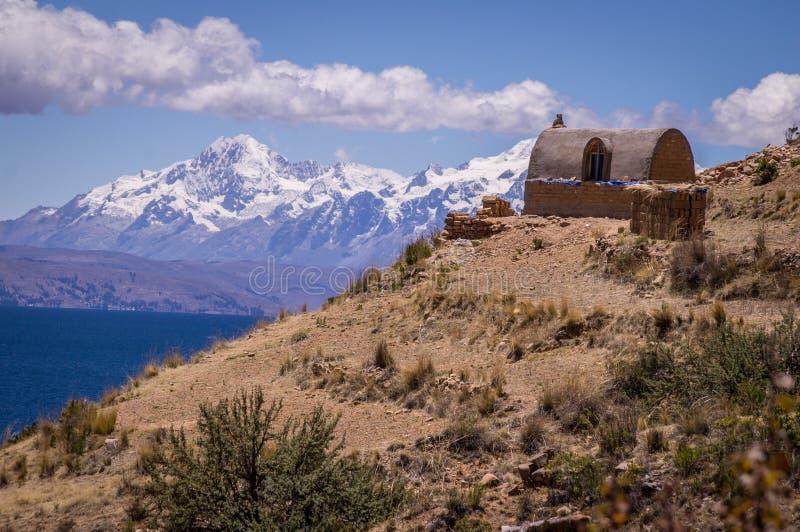 在月亮的海岛的喀喀湖,玻利维亚的印加人废墟 库存图片