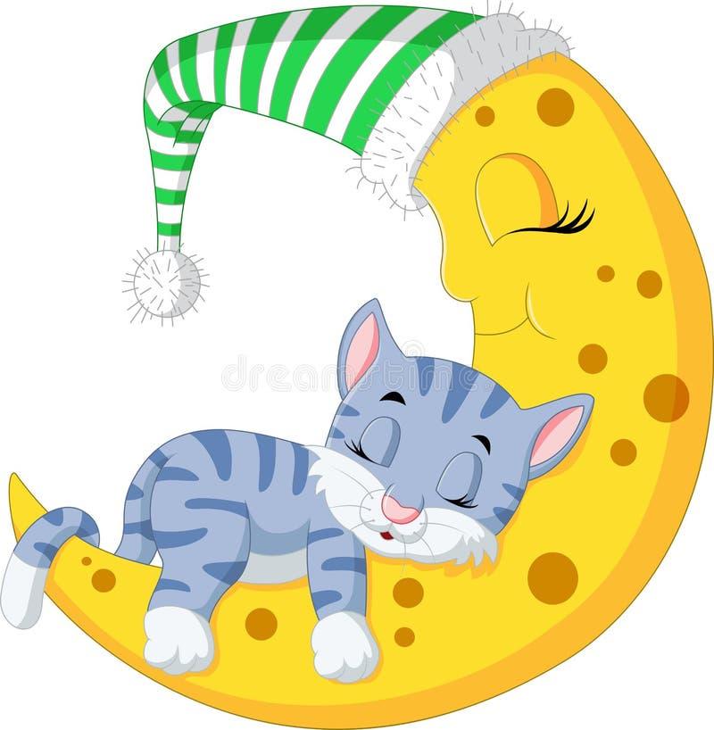 在月亮的猫睡眠 向量例证