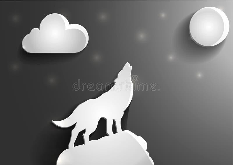 在月亮的玻璃偏僻的狼hawl在晚上 容量图象 库存例证