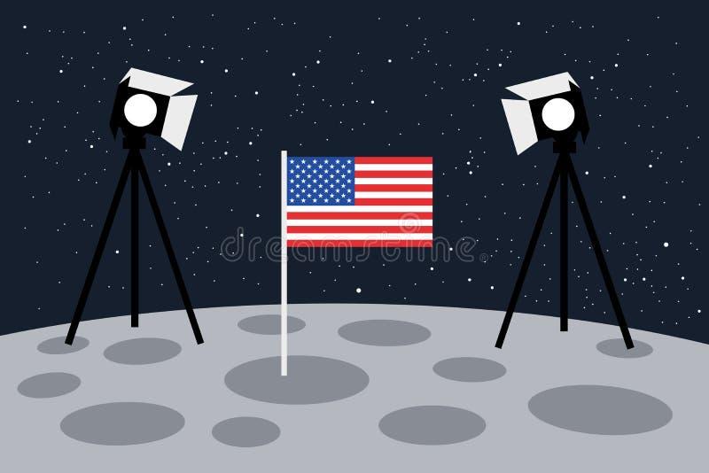 在月亮的美国着陆作为与光和美国旗子-美国和假航天学的演出的场面 库存例证