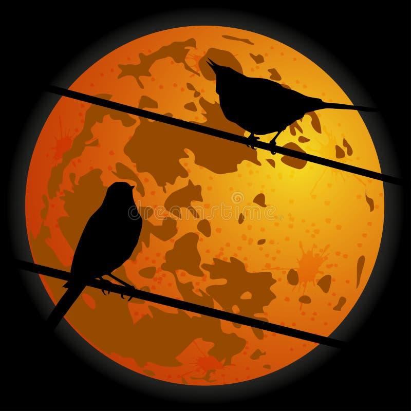 在月亮的背景的两只鸟 向量 向量例证