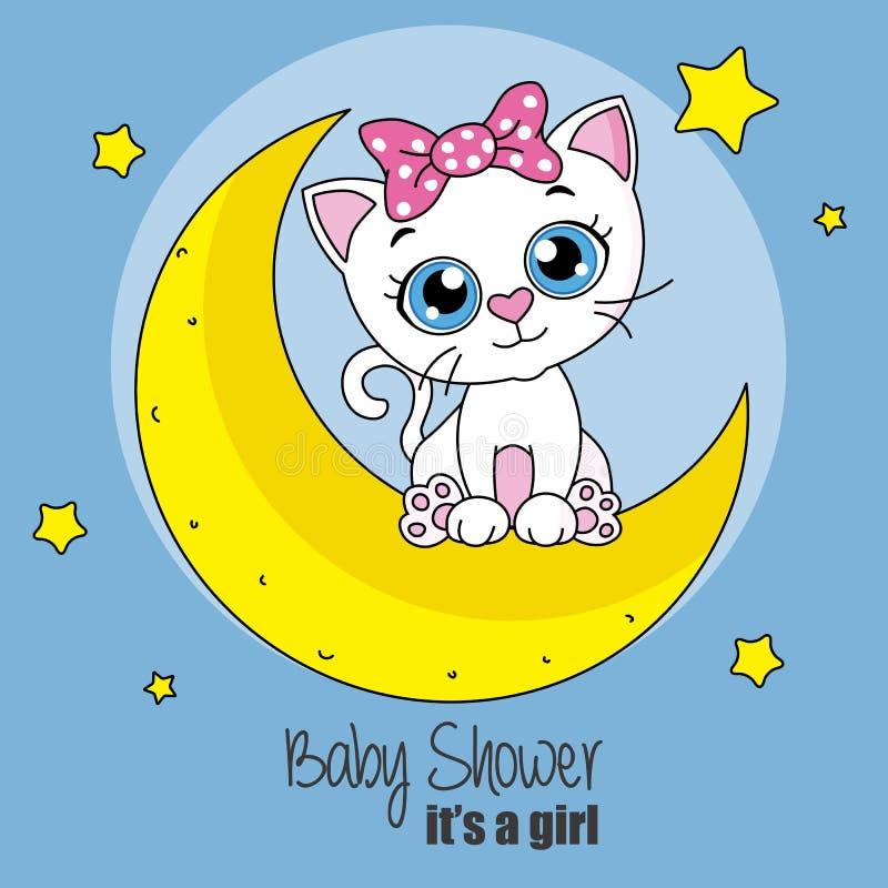 在月亮的逗人喜爱的动画片猫 库存例证