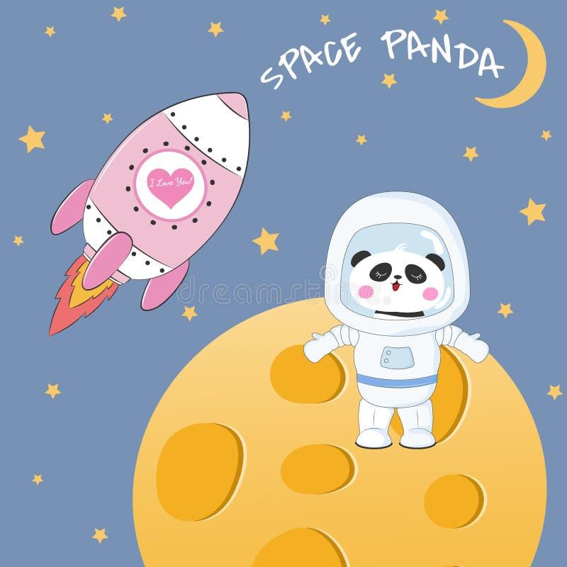 在月亮的逗人喜爱的滑稽的熊熊猫宇航员身分 向量例证
