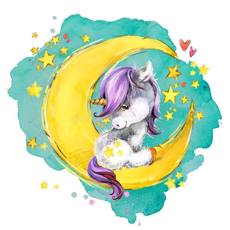 在月亮的逗人喜爱的独角兽 水彩夜童话天空例证 皇族释放例证
