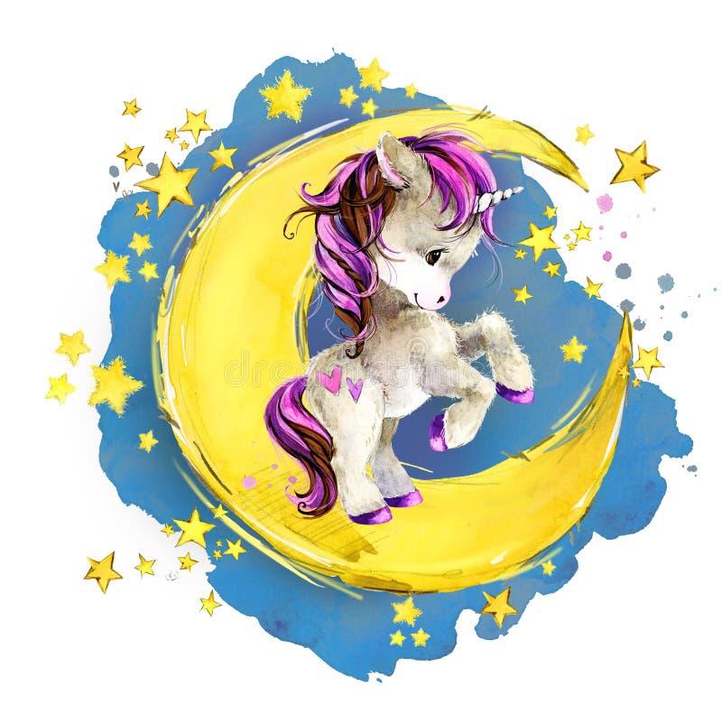 在月亮的逗人喜爱的独角兽 水彩夜童话天空例证 向量例证
