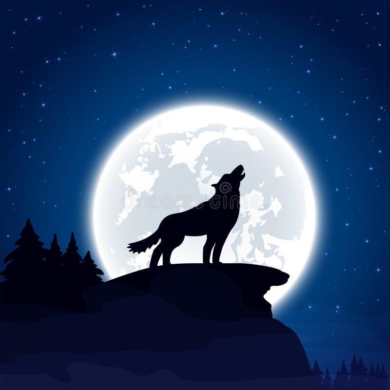 在月亮背景的狼 库存例证