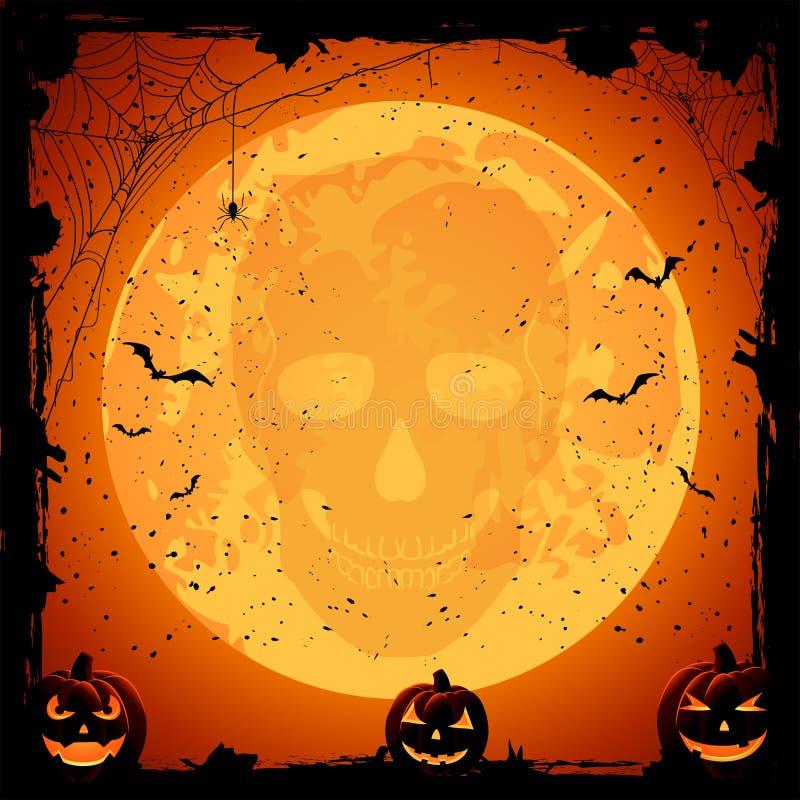 在月亮背景的头骨 库存例证