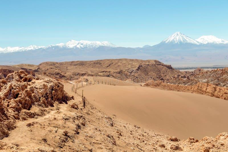 在月亮谷瓦尔de la月,阿塔卡马沙漠,智利的沙丘 库存照片