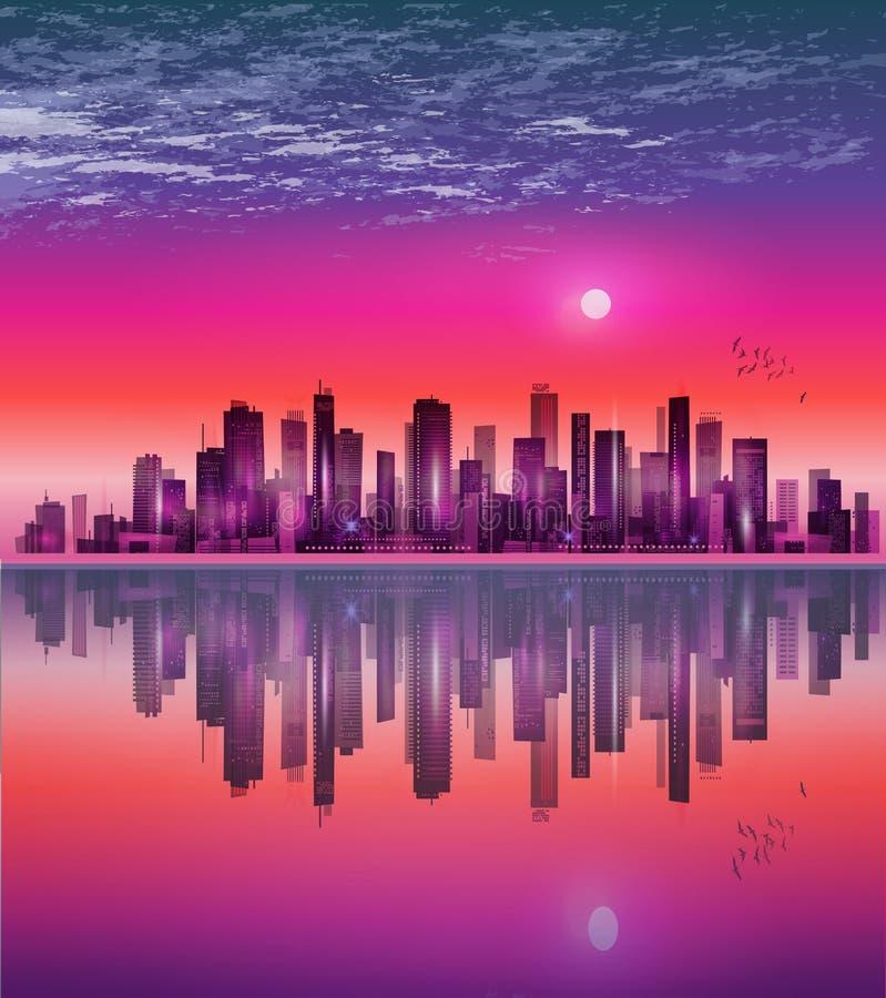 在月光或日落的都市夜城市地平线,与反射 向量例证