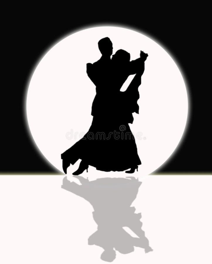 在月光的交谊舞,黑白 向量例证
