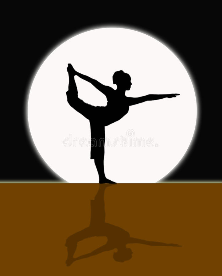 在月光的瑜伽 向量例证