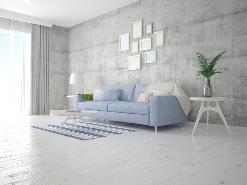 在有一个完善的沙发的一个时髦的客厅嘲笑  向量例证