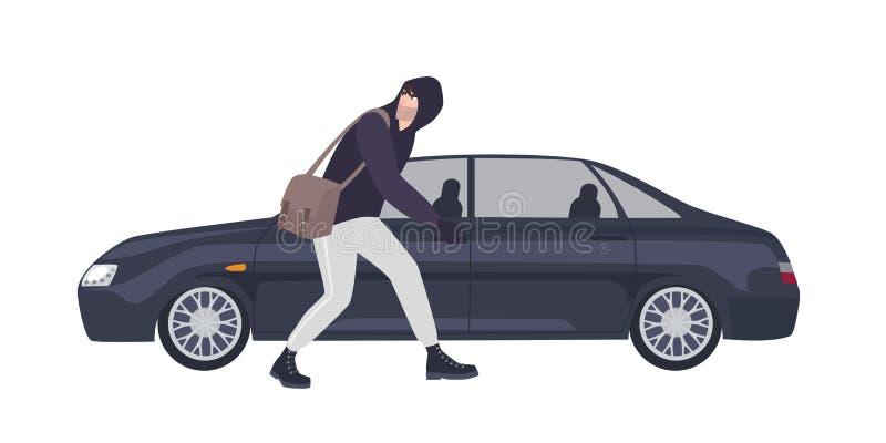 在有冠乌鸦或者橡胶穿戴的窃贼、夜贼偷偷地走打碎汽车的窗口 犯罪做的罪行 ?? 库存例证