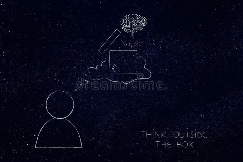 在有想法泡影的箱子人之外认为与开放parce 向量例证