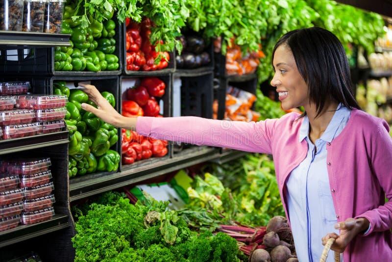 在有机部分的妇女买的菜 库存照片