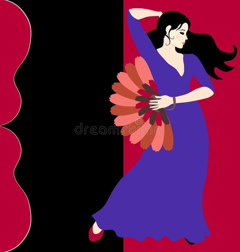 在有爱好者的长的蓝色礼服打扮的西班牙佛拉明柯舞曲舞蹈家在她的反对深红背景的手立场 吉他剪影  向量例证