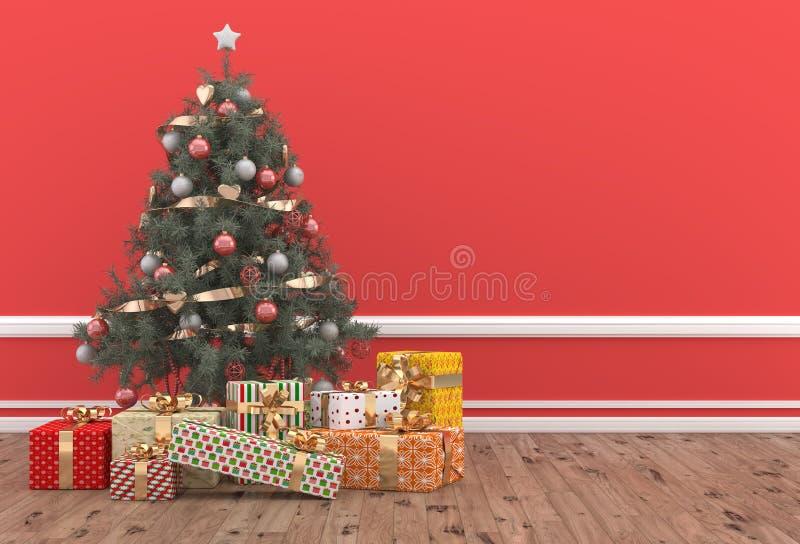 在有礼物的一间红色屋子装饰的圣诞树包装 向量例证