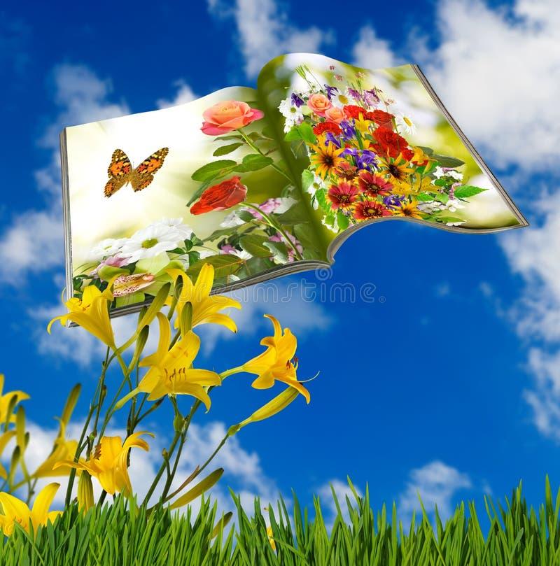 在有花的公园打开杂志 免版税库存照片