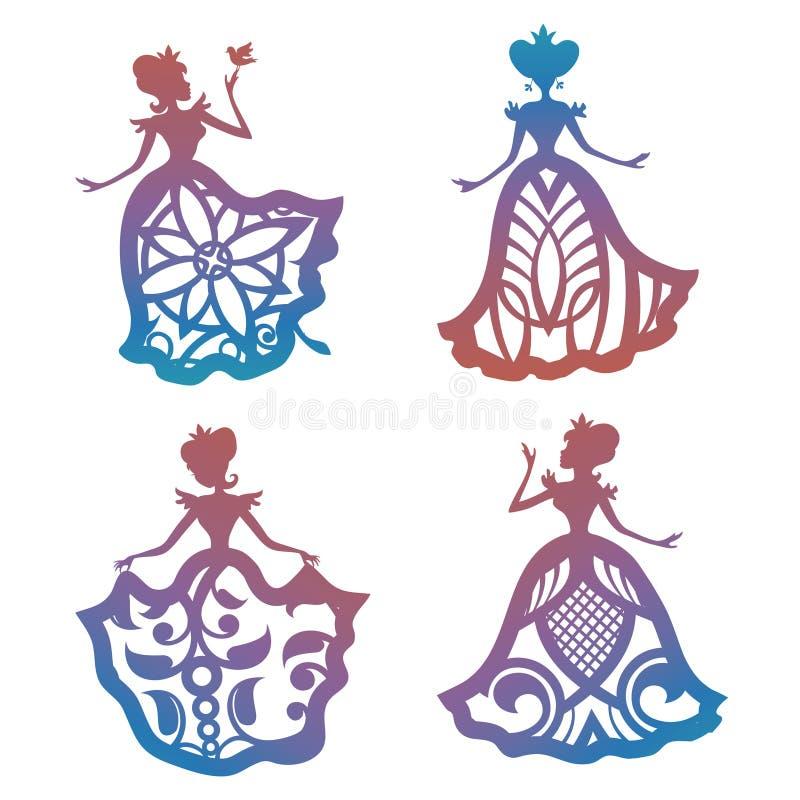 在有花边的礼服的五颜六色的公主剪影 皇族释放例证