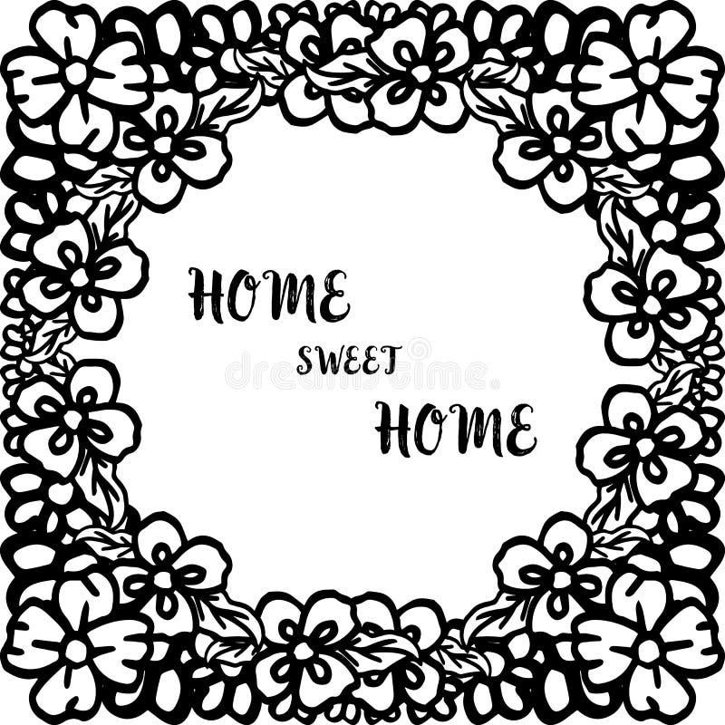 在有葡萄酒花框架的传染媒介例证家庭甜家上写字 向量例证