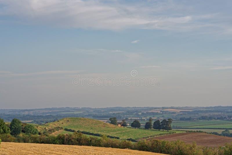 在有薄雾的小山的图,英国 图库摄影
