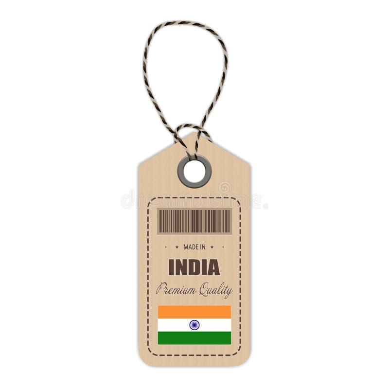在有被隔绝的旗子象的印度制造的吊标记在白色背景 也corel凹道例证向量 向量例证