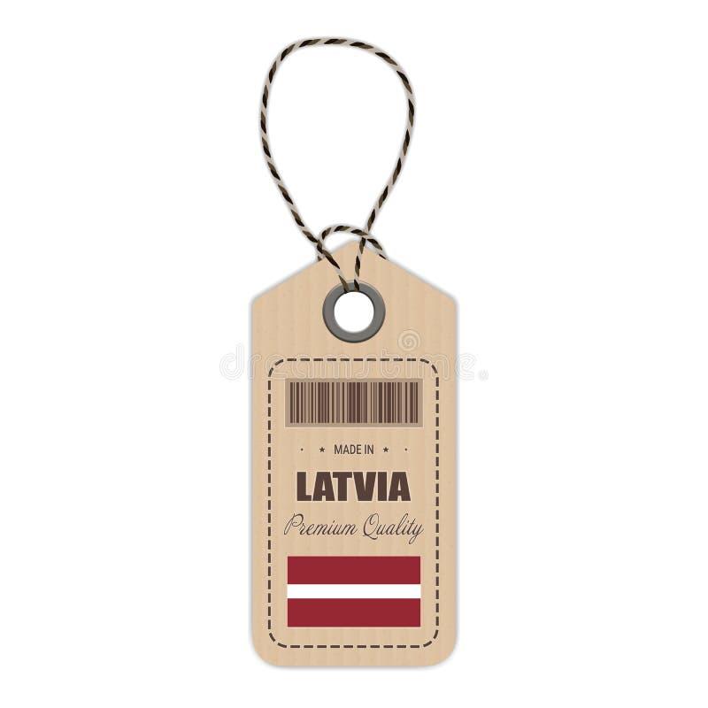 在有被隔绝的旗子象的拉脱维亚制造的吊标记在白色背景 也corel凹道例证向量 向量例证