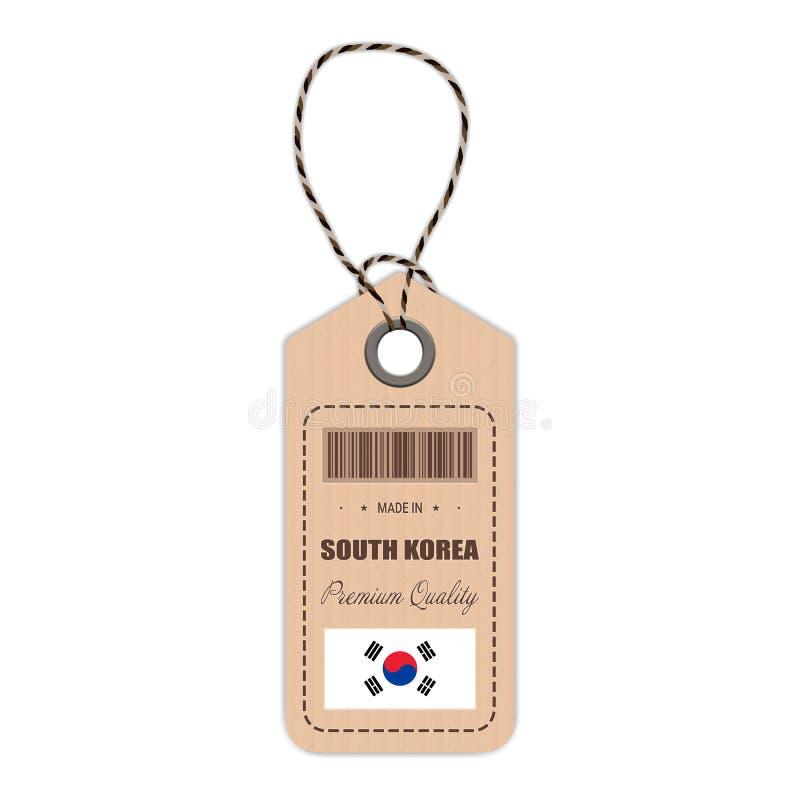 在有被隔绝的旗子象的韩国制造的吊标记在白色背景 也corel凹道例证向量 向量例证