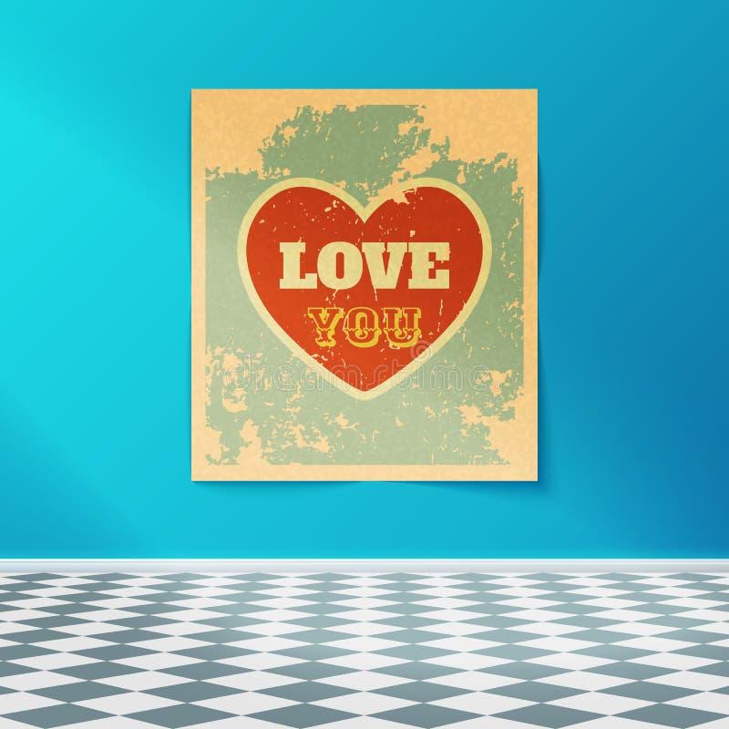 在有铺磁砖的地板的屋子里爱您在墙壁上的减速火箭的海报 库存例证