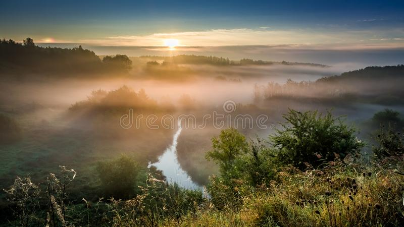 在有雾的谷的美妙的黎明在秋天 库存照片