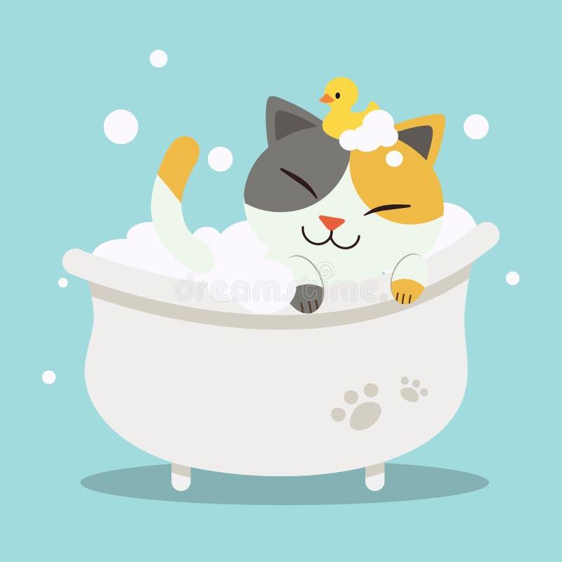 在有鸭子玩具的浴缸的逗人喜爱的字符动画片猫有沐浴与barhtub的平的传染媒介样式猫的 皇族释放例证