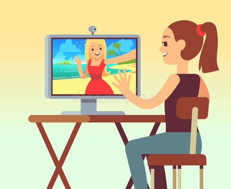 在朋友之间的录影闲谈在计算机上的耳机的有照相机的 在网上聊天和comunication传染媒介概念 库存例证