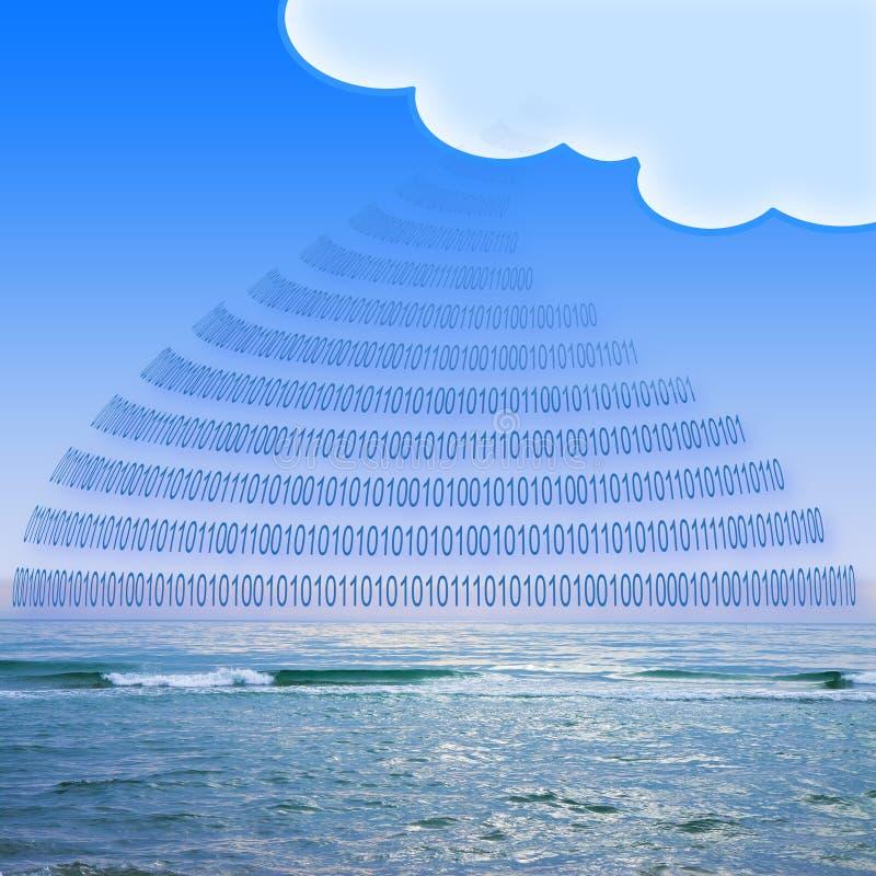 在服务云彩-概念图象与二进制编码和云彩的安全存贮在风平浪静背景 库存图片