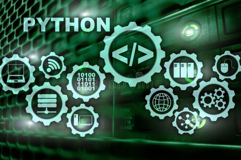 在服务器室背景的Python编程语言 在虚屏上的编程的工作流摘要算法概念 向量例证