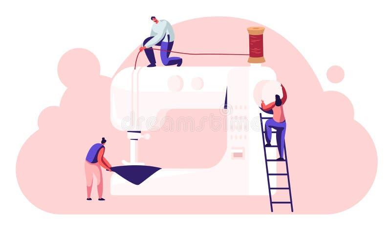 在服装创作、裁缝裁缝工作在缝纫机在工作室或织品工厂的过程中下水道字符 皇族释放例证