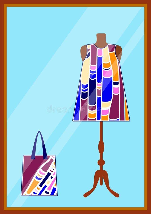 在服装店的窗口 妇女给现代时髦的精品店,商店穿衣 与夏天时尚五颜六色的海滩礼服a的商店窗口 皇族释放例证