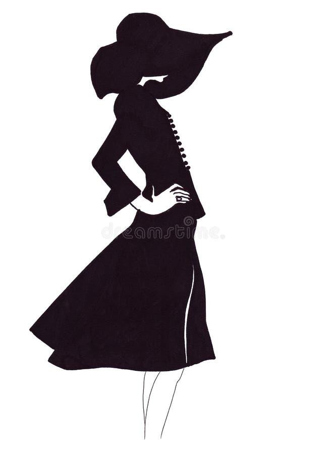 在服装的例证剪影侈奢的时尚女性画象作为剪影 向量例证