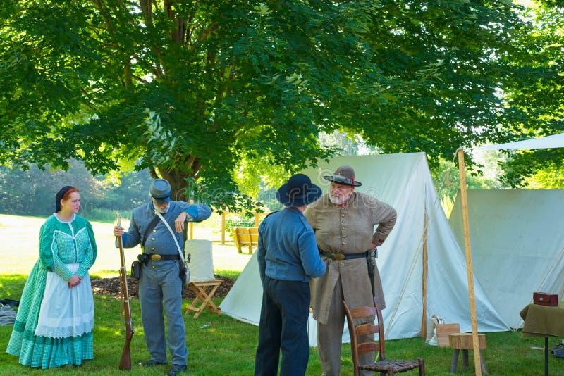 在服装的南北战争字符 免版税库存图片