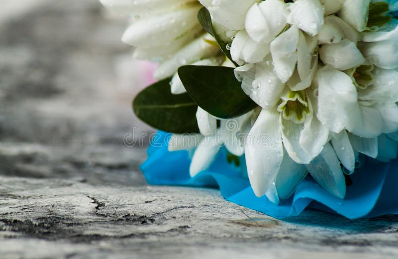 在木书桌上的白色花束snowdrops 图库摄影